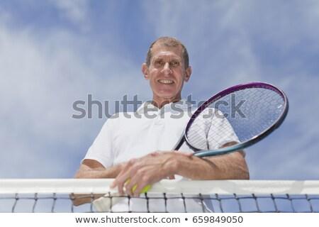 Idősebb férfi dől tenisz net portré Stock fotó © IS2