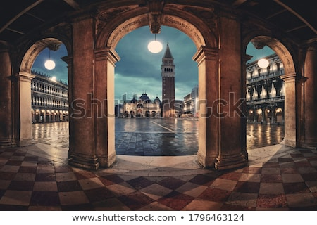 piazza san marco at night venice italy stock photo © is2