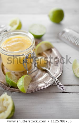 Homemade lime curd in glass jar stock photo © Melnyk