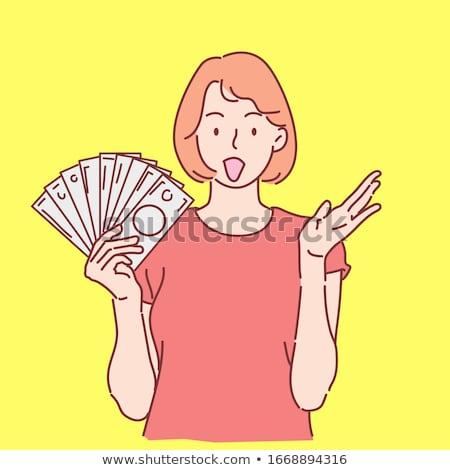 Moda dólar mujer muchos notas mano Foto stock © lunamarina