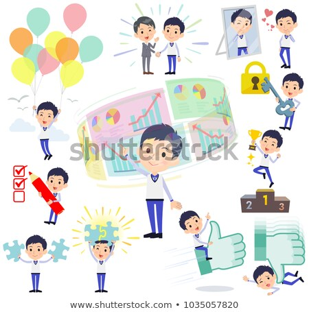 Sklepu pracowników niebieski uniform pozytywny mężczyzn Zdjęcia stock © toyotoyo