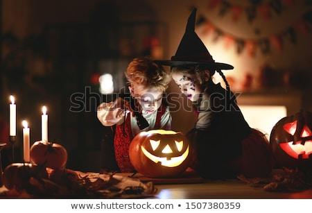 Сток-фото: ребенка · Хэллоуин · счастливым · Cute · мало · смеясь