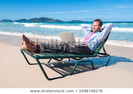 man on the beach and text mindfulness stock photo © nito