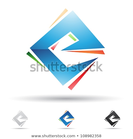 Red and Orange Diamond Shaped Letter E Vector Illustration Stock photo © cidepix