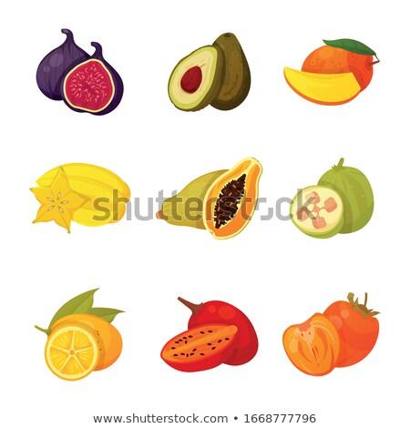 Natural organic background from exotic fruits carambola, half of orange, passion fruit, pineapple le Stock photo © artjazz