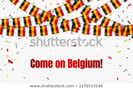 Belgium flags garland on transparent background with confetti. Hang bunting for independence Day cel Stock photo © olehsvetiukha