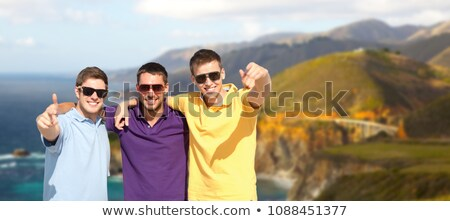 group of male friends hugging over big sur coast Stock photo © dolgachov