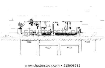 Kitchen worktop with sink. The sketch of the kitchen Stock photo © Arkadivna