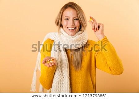 Heureux femme écharpe pilules Photo stock © deandrobot