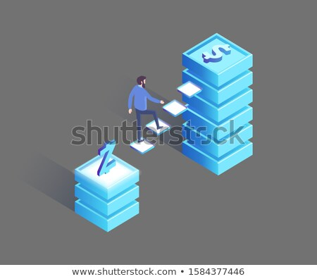 Man Walking from Polish Zloty to Dollar Pedestal Stock photo © robuart