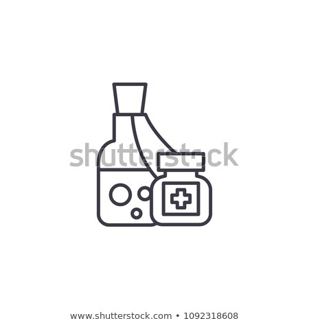Homeopathic medicine line illustration on a white background. Homeopathic pills. Alternative medicin Stock photo © Imaagio