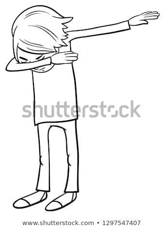 Cartoon мальчика цвета книга черно белые иллюстрация Сток-фото © izakowski