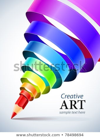creative template with pencil and coloured spiral ribbon Stock photo © LoopAll
