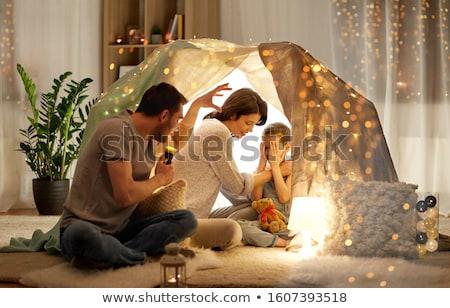 отец Scary дочь люди факел свет Сток-фото © dolgachov