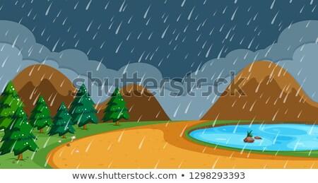 Hegy sziget esik az eső jelenet illusztráció ház Stock fotó © colematt