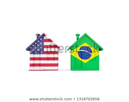 Dos casas banderas Estados Unidos Brasil aislado Foto stock © MikhailMishchenko