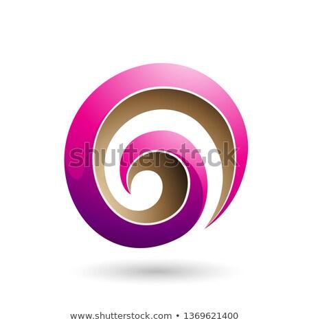 пурпурный бежевый 3D Swirl форма Сток-фото © cidepix