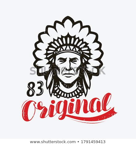 Stock photo: Vintage american indian emblem