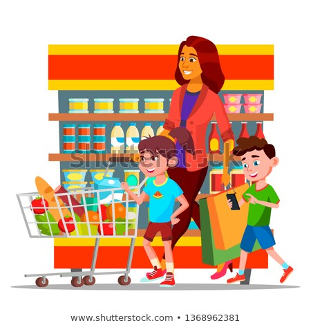 Mother With Children Shopping in Hypermarket Vector Characters Stock photo © pikepicture
