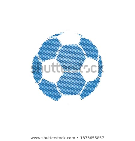 Blue Halftone Football with dots. Flying soccer ball. Vector illustration isolated on white backgrou Stock photo © kyryloff