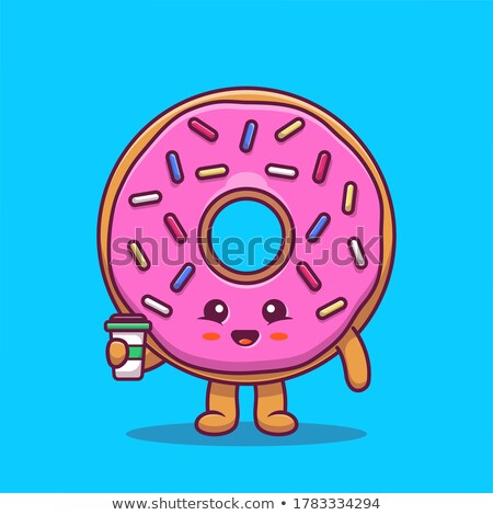Happy Chocolate Donut Cartoon Character With Sprinkles Holding Up A Blank Sign Stock photo © hittoon