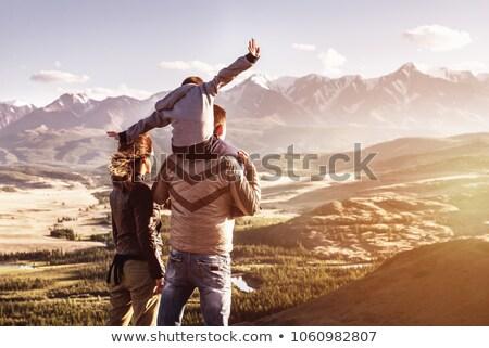 Család trekking nap hátulnézet hegy nők Stock fotó © grafvision