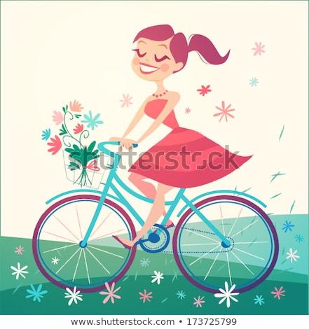 kadın · devir · aktif · hayat · kadın · bisiklete · binme - stok fotoğraf © robuart