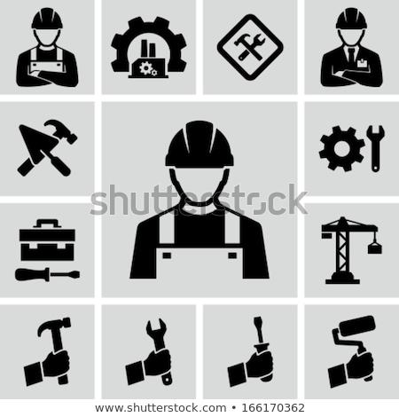 Icon bouwvakker hoofd helm kleur ladder Stockfoto © angelp