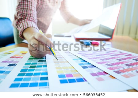 architectural drawing with work tools graphic designer working stock photo © freedomz