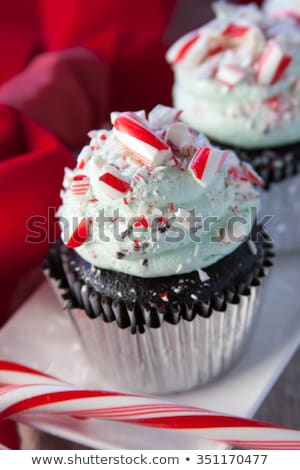 Christmas festive cupcake with candy cane stock photo © furmanphoto