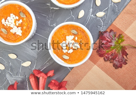 fűszeres · sütőtök · leves · sötét · fa · asztal · ősz - stock fotó © illia