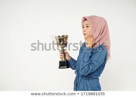 Muslim imprenditrice trofeo donna potere Foto d'archivio © szefei