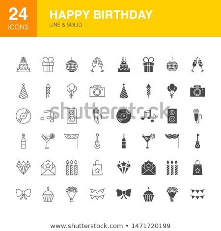 празднование дня рождения линия веб иконки счастливым Сток-фото © Anna_leni