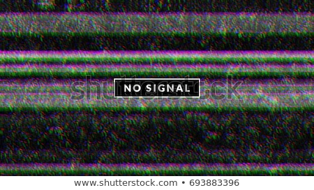 Glitch background with tv noise texture and no signal label in rectangular frame. Interference Stock photo © Iaroslava