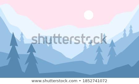kaart · winter · landschap · witte · sneeuwvlokken · bomen - stockfoto © anneleven