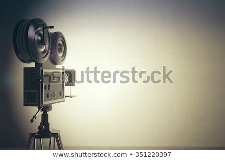 Vieux caméra vidéo symbole mur blanche 3D Photo stock © make