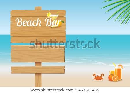 Vector Beach Concept with Wooden Board Stock photo © dashadima