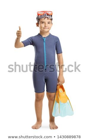 Menino snorkel isolado ilustração sorrir feliz Foto stock © bluering