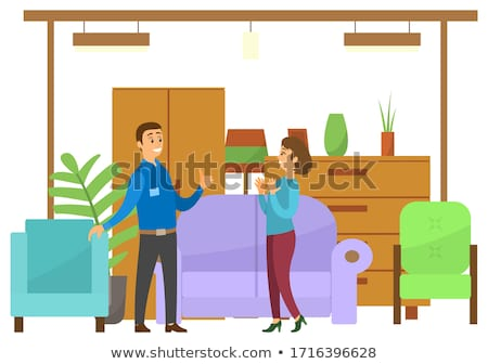 People in Furniture Store, Wardrobe and Armchairs Stock photo © robuart