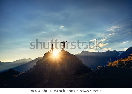Piękna świcie góry szczyt niebo drzewo Zdjęcia stock © olira