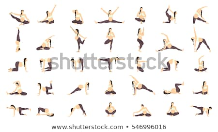Set of young beautiful pregnancy woman. Fitness healthy lifestyle. Prenatal exercise. Vector illustr Stock photo © Imaagio