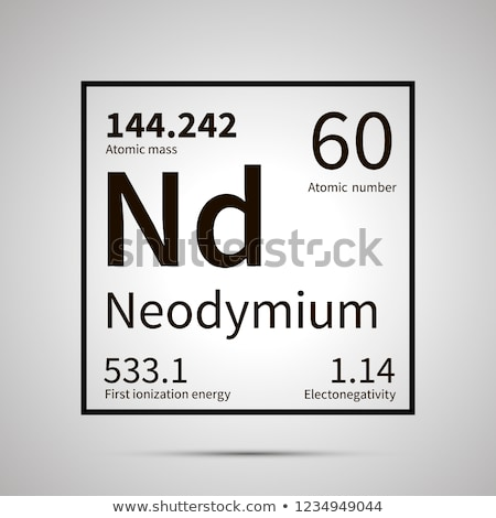Neodymium chemical element with first ionization energy, atomic mass and electronegativity values ,s Stock photo © evgeny89