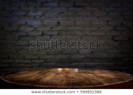 Gekozen focus lege zwarte houten tafel muur Stockfoto © Freedomz