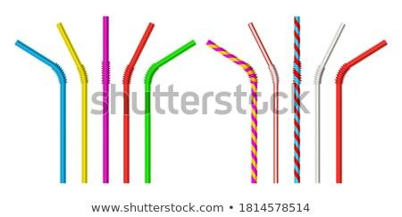 わら 縞模様の 飲料 パイプ セット ベクトル ストックフォト © pikepicture