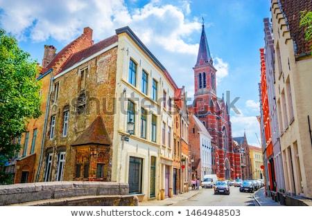 Csatorna öreg házak Belgium tipikus városkép Stock fotó © dmitry_rukhlenko