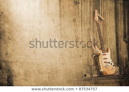 Stockfoto: Oude · saxofoon · retro · textuur · gitaar