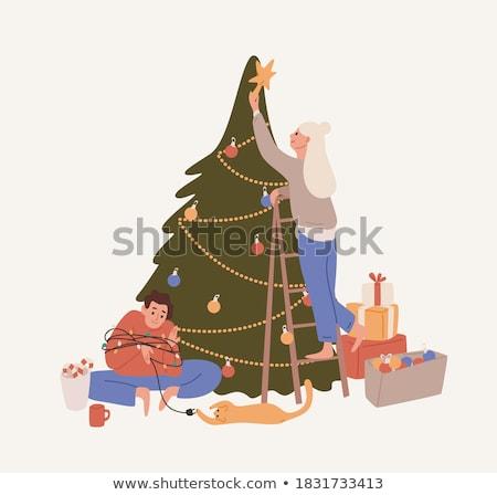 Stockfoto: Gelukkig · vrouw · kerstboom · geïsoleerd · witte · christmas