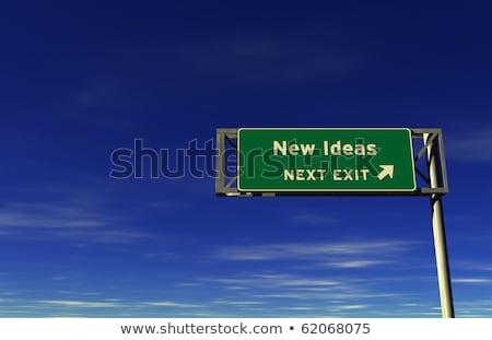 új · ötletek · autóút · kijárat · jelzés · szuper · magas - stock fotó © eyeidea