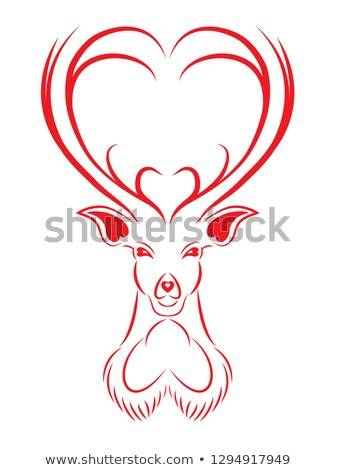 red deers with heart, vector Stock photo © beaubelle