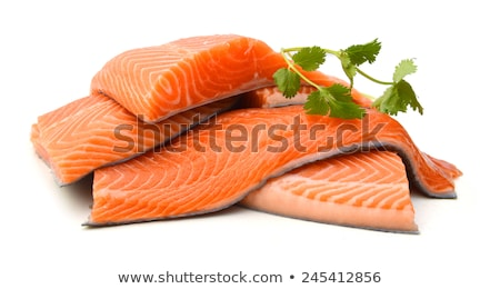 fresh salmon steak over white background Stock photo © ozaiachin